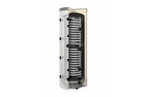 Akumulacyjny zbiornik warstwowy Multi Inox 600 z wężownicą do c.w.u. i z dwiema wężownicami spiralnymi