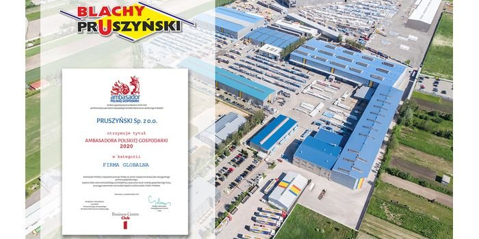 Ambasador Polskiej Gospodarki 2020 – wyróżnienie dla Blachy Pruszyński