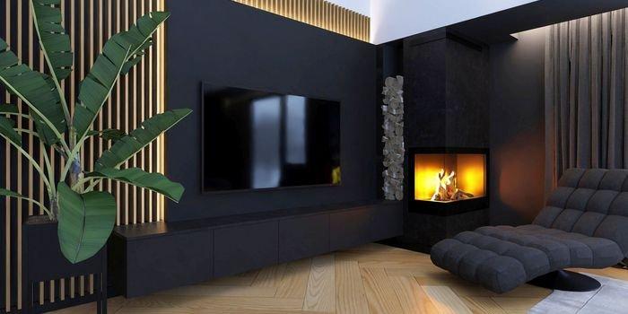 Czerń, drewno i urok kamienia w eleganckim mieszkaniu