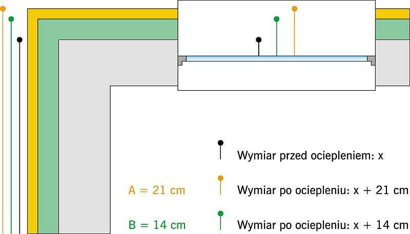 Rys. 3. Rzut na fragment naroża budynku i otworu okiennego; rys.: archiwum autora (K. Kiejna)