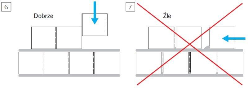 Rys. 6–7. Poprawne murowanie elementów z niewypełnionymi spoinami pionowymi; rys. H+H Silikaty