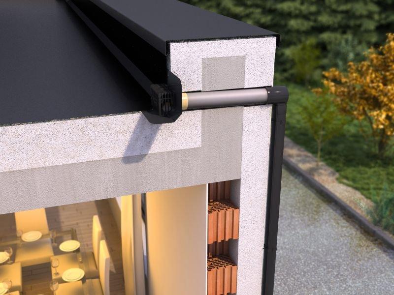 [2] Gotowe zestawy do grawitacyjnego odwodnienia dachów płaskich składają się z wpustu dachowego, rury kanalizacyjnej oraz przejścia przez attykę – adaptera. Występują w różnych konfiguracjach i mogą być łączone z kwadratowymi rurami spustowymi wykonanym.
