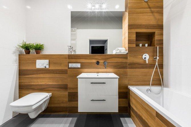 5 pomysłów na aranżację łazienki z użyciem drewna Fot. KOŁO Geberit
