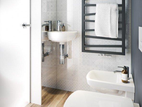 Szara łazienka - aranżacje i inspiracje Fot. KOŁO