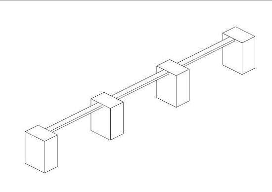 Murek gabionowy z łatwością można wykonać z paneli, które montuje się na specjalnych prostokątnych słupach, tworząc przestrzeń między dwoma równoległymi przęsłami.