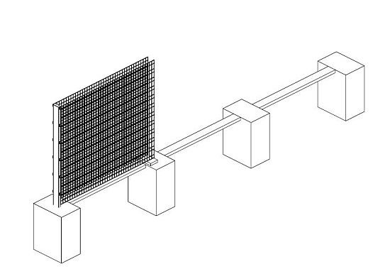 Murki gabionowe należy zawsze montować na słupach do zabetonowania, nigdy na podstawach. Słupy muszą być zawsze 50 cm dłuższe od wysokości panelu.