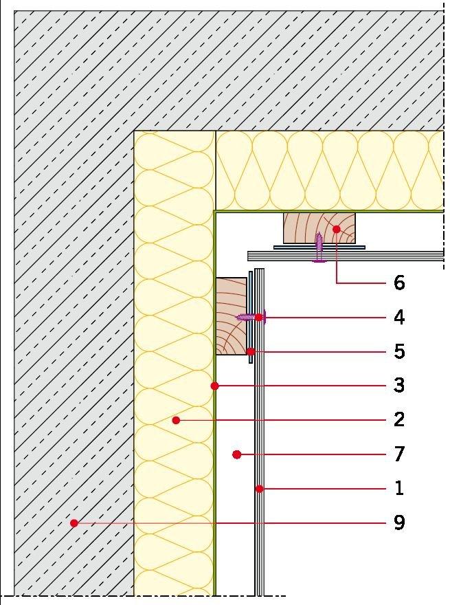 Rys. 10. Detal wykonania elewacji wentylowanej na ruszcie drewnianym - naroże wewnętrzne. Objaśnienia: 1 – okładzina elewacyjna, 2 – wełna mineralna, 3 – membrana paroprzepuszczalna, 4 – łącznik płyty, 5 – taśma EPDM, 6 – element konstrukcji pionowy, 7 –.