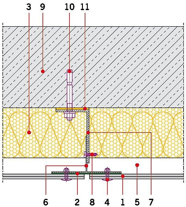 Rys. 3. Układ warstw elewacji wentylowanej: 1 – okładzina elewacyjna z płyty włóknocementowej, 2 – taśma EPDM, 3 – izolacja termiczna z wełny mineralnej z welonem szklanym, 4 – łącznik płyty, 5 – szczelina wentylacyjna, 6 – podkonstrukcja aluminiowa – el.