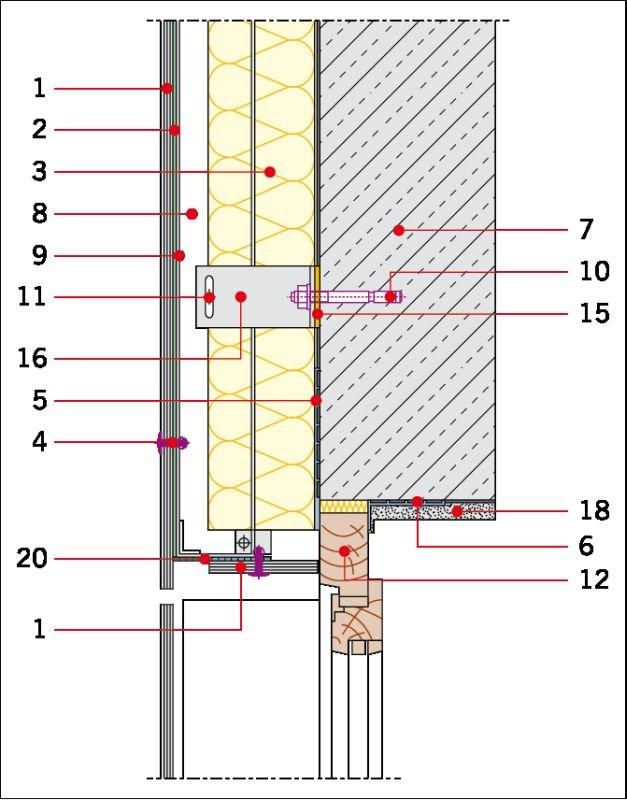 Rys. 5. Detal wykonania elewacji wentylowanej na ruszcie z aluminium: ościeże okienne. Objaśnienia: 1 – okładzina elewacyjna, 2 – taśma EPDM, 3 – wełna mineralna z welonem szklanym, 4 – łącznik płyty, 5 – taśma paroizolacyjna, 6 – taśma paroprzepuszczaln.