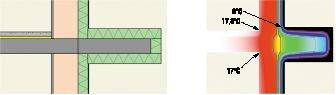 Rys. 7. Połączenie płyty balkonowej ze stropem (ocieplenie obwodowe – styropian 10 cm)