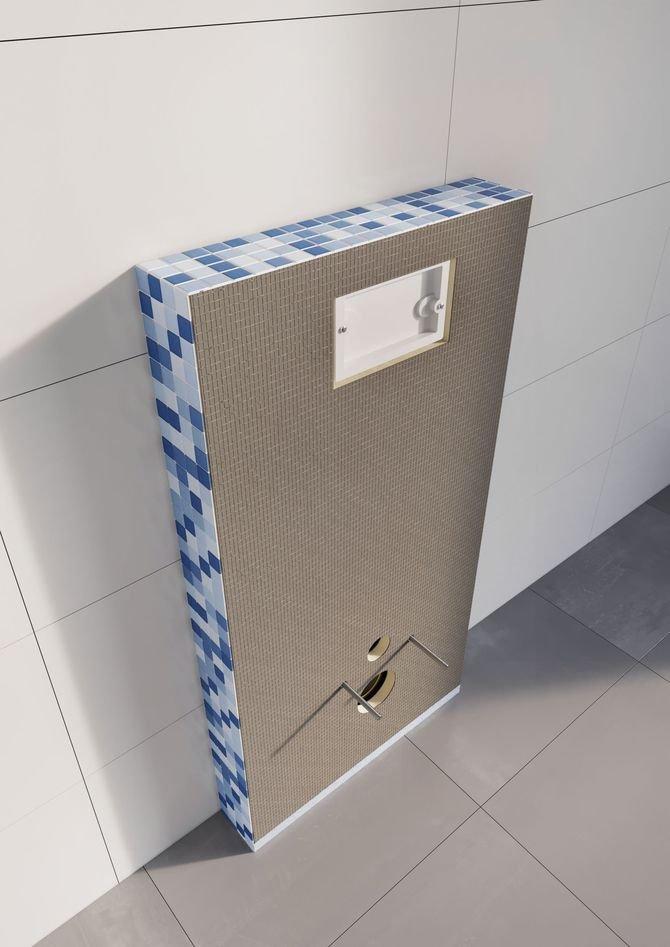 Zabudowa stelaża podtynkowego WC gotową płytą budowlaną