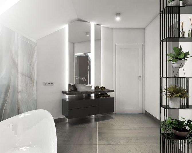 Miejsce przy drzwiach przeznaczono na umywalkę o takiej samej formie co wanna. Wspiera się ona na kamiennym blacie. Pod nim znajduje się pojemna szafka na ręczniki i kosmetyki.