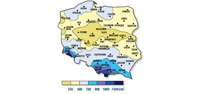Wielkość opadów w Polsce