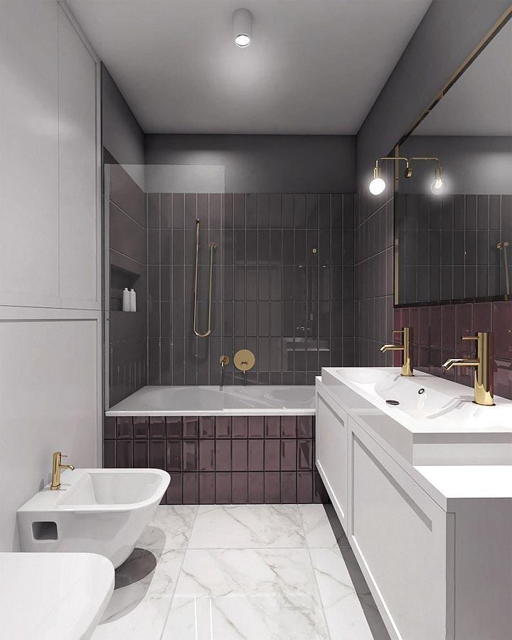 W mieszkaniu jest też druga łazienka, z której korzystają dzieci. Zainstalowano w niej podwójną umywalkę, tak aby obydwoje mogli równocześnie myć ręce czy zęby. Wanna z parawanem zaspokaja różne upodobania dzieci. Jedno lubi bowiem długie kąpiele, a drugie woli orzeźwiający prysznic. Pomyślano też o schowkach, tak aby zapas ręczników czy papieru toaletowego nie musiał leżeć na widoku.
