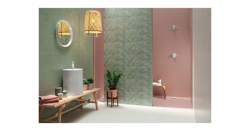 Nową kolekcję płytek ceramicznych Touch marki Tubądzin charakteryzują różne odcienie zieleniFot. Ceramika Tubądzin