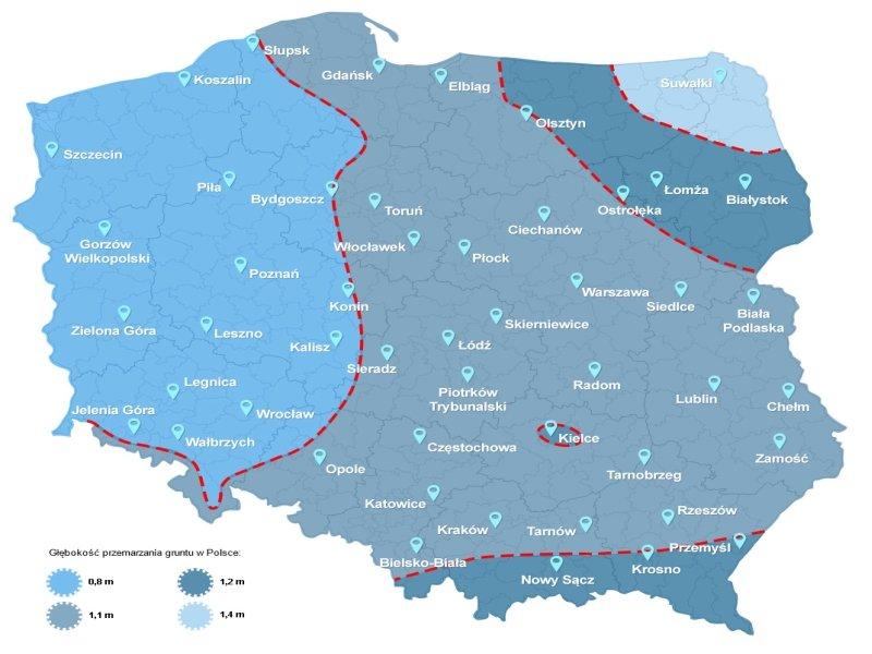 Głębokość zamarzania gruntu w Polsce
