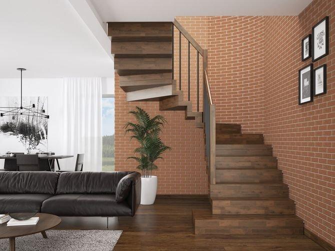 Schody dywanowe Otto - wspornikowe, bez konstrukcji. Balustrada Tube 25 z drewnianym pochwytem. Stopnie i podstopnie z litego dębu o grubości 8 cm.