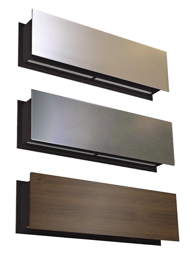 Fot. 2. Kurtyna powietrzna ZEN - przykład wykonania (kolejno od góry) ze stali nierdzewnej błyszczącej, stali nierdzewnej szczotkowanej, drewna