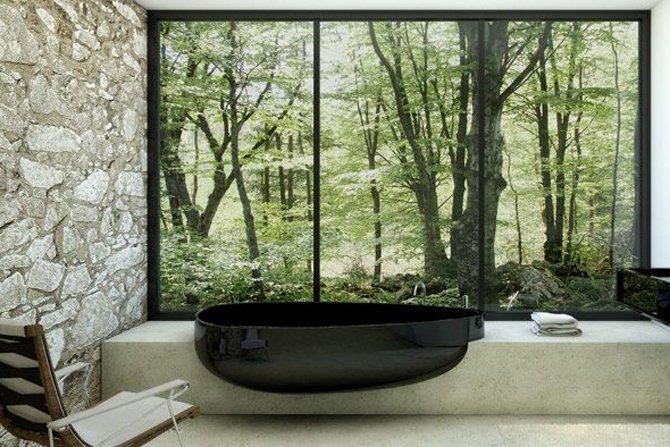 czarna wanna trendshomedesign minimalist design bathroom