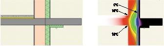 Rys. 3. Połączenie płyty balkonowej ze stropem (ocieplenie podniebienia balkonu - styropian 5 cm)