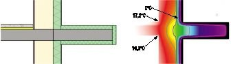 Rys. 6. Połączenie płyty balkonowej ze stropem (ocieplenie obwodowe - styropian 5 cm)
