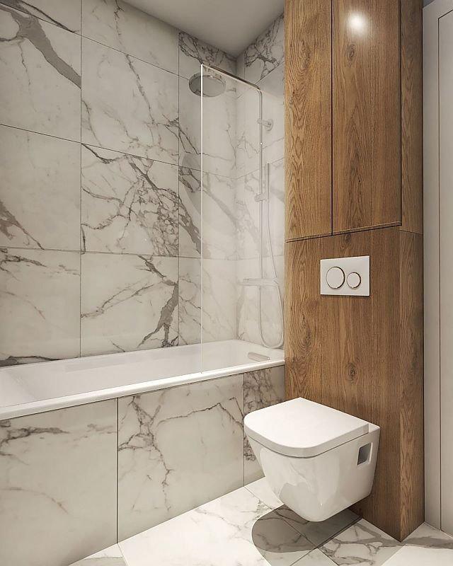 W wannie z parawanem prysznicowym można brać zarówno kąpiel, jak szybki natrysk. Miejsce nad instalacją podwieszonego sedesu wykorzystano na schowek, w którym mieszczą się środki czystości, zapas papieru toaletowego itp.