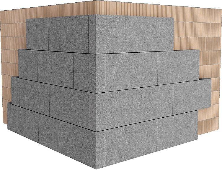 Rys. 5. Poprawne ułożenie płyt styropianowych w narożniku ścian zewnętrznych zapewnia szczelność połączenia warstwy izolacji cieplnej, zwiększa trwałość przyczepności płyt styropianowych w narożniku ścian zewnętrznych; zaleca się wzmocnienie przyczepnośc.