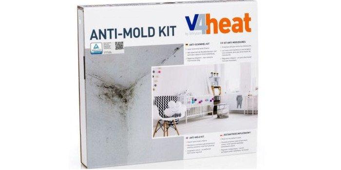 Zestaw przeciwpleśniowy V4heat zawiera wszystko, co jest potrzebne do montażu w narożniku pomieszczenia.