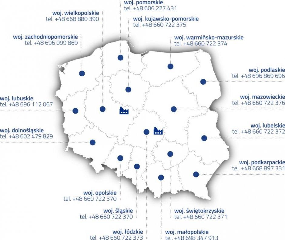 franspol mapa kontakt niebieski