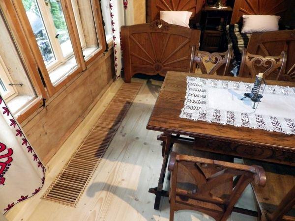 ogrzewanie podlogowe kanalowe podest drewniany